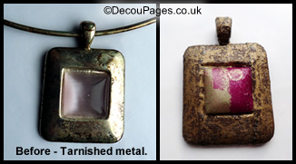 Resin pendant covered in Decopatch paper.